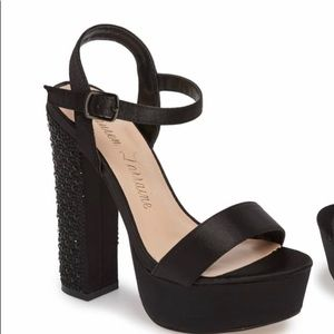 Platform Sandal with jewel encrusted heel